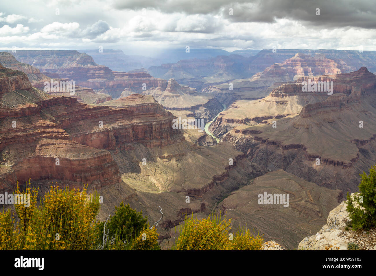 Colorado river crossing the eroded landscape of Grand Canyon, Arizona, United States Stock Photo