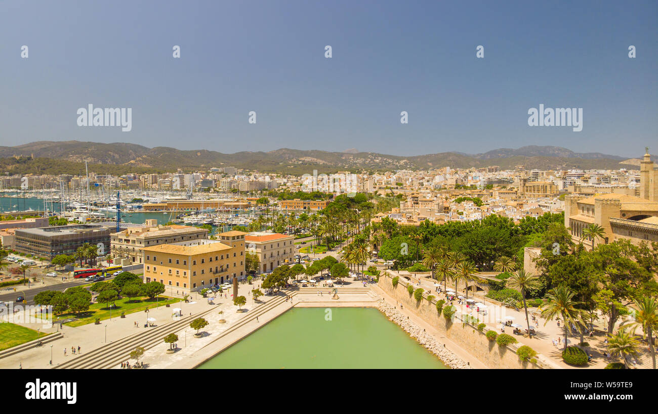 Cityscape. Aerial view of Palma city, Mallorca, Spain. Stock Photo