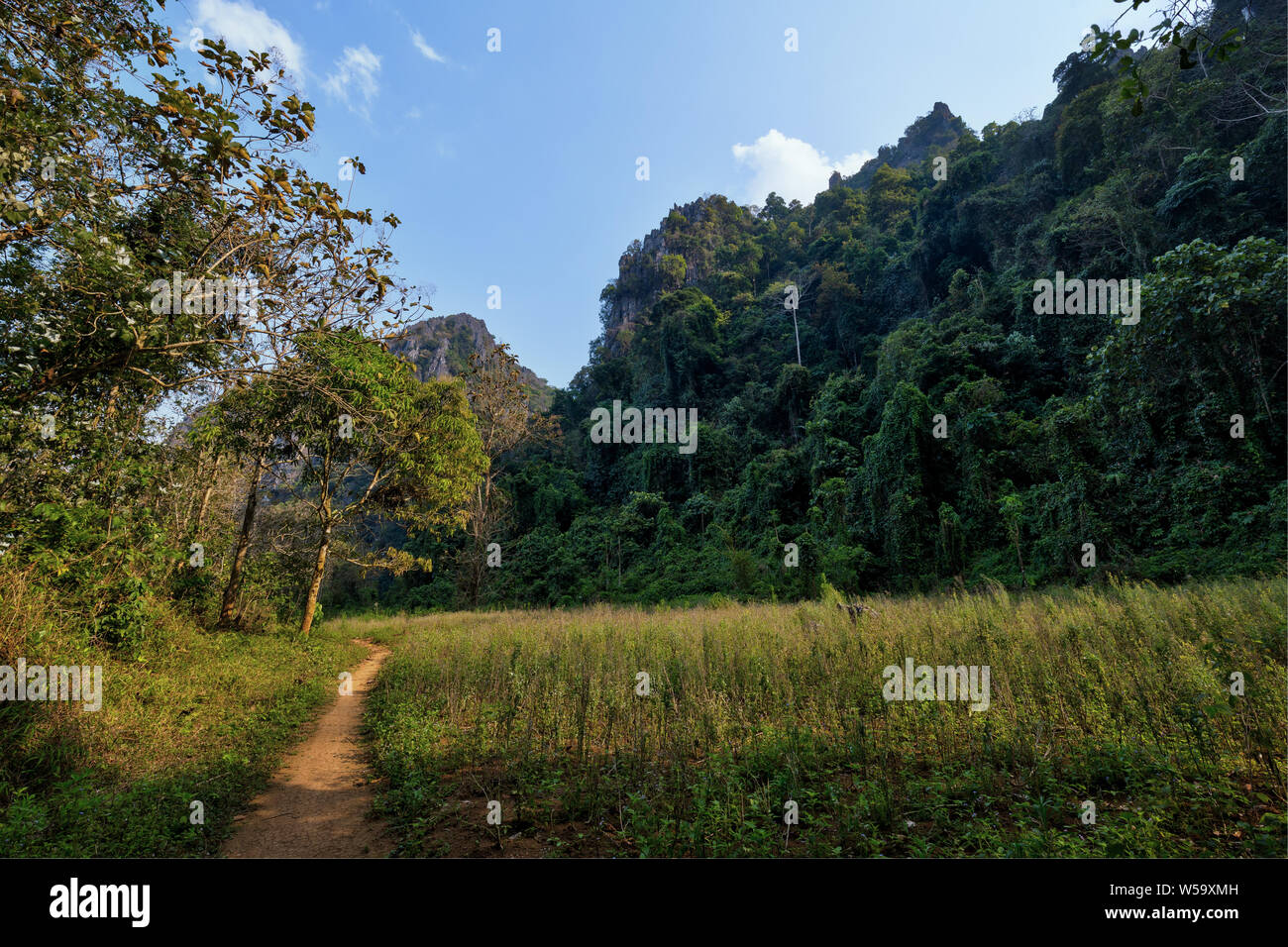 Scenic view of a lush nature, limestone mountains and hills - Off the beaten path near Vang Vieng, Vientiane Province, Laos, on a sunny day. Stock Photo
