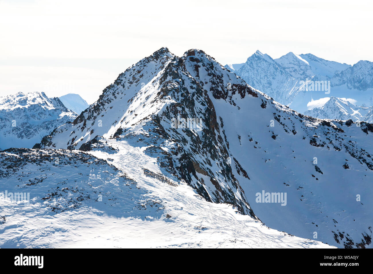 High rocky mountain landscape. Beautiful scenic view of mount. Alps ski resort. Austria, Stubai, Stubaier Gletscher Stock Photo
