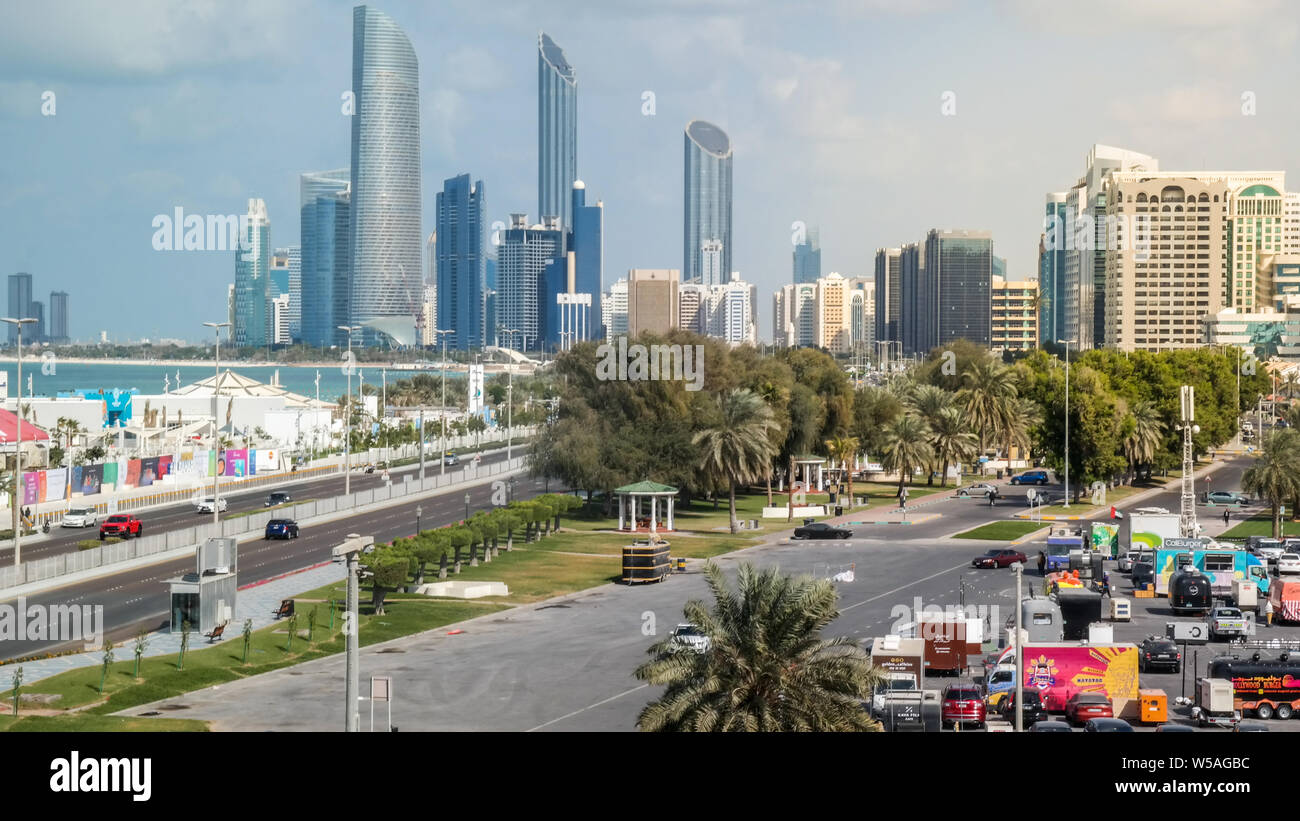 Beautiful View Of Abu Dhabi City Skyline And Landmarks From The Famous Corniche Road Stock Photo Alamy