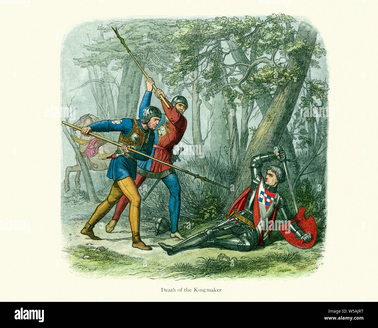 Death of Richard Neville Earl of Warwick (known as the Kingmaker) at the Battle of Barnet on the 14 April 1471.  The Battle of Barnet was a decisive e Stock Photo