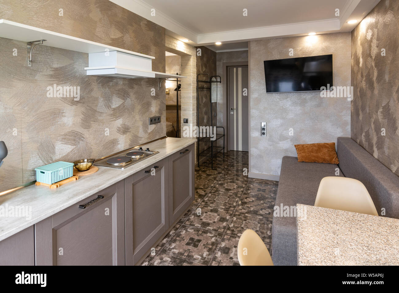 The Interior Of A Small Living Room And Kitchen In The Hotel Room Stock Photo Alamy