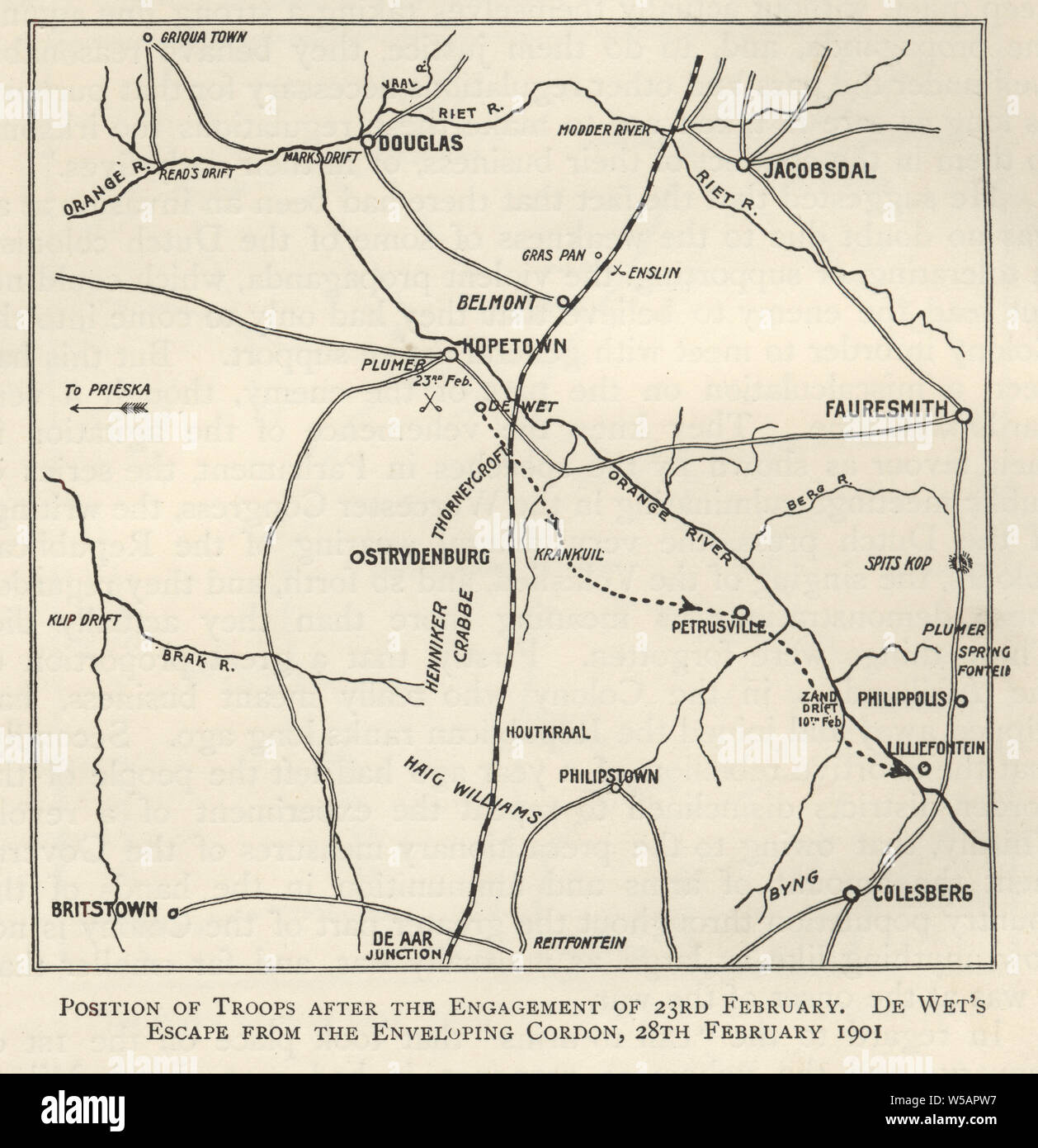 Map from the Second Boer War, Position of troops after the engagment of 23rd February 1901.  De Wt's escape from the enveloping cordon, 28th February 1901 Stock Photo