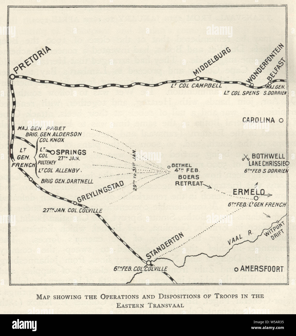Map from the Second Boer War, operations and dispositions of troops in the eastern Transvaal 1901 Stock Photo