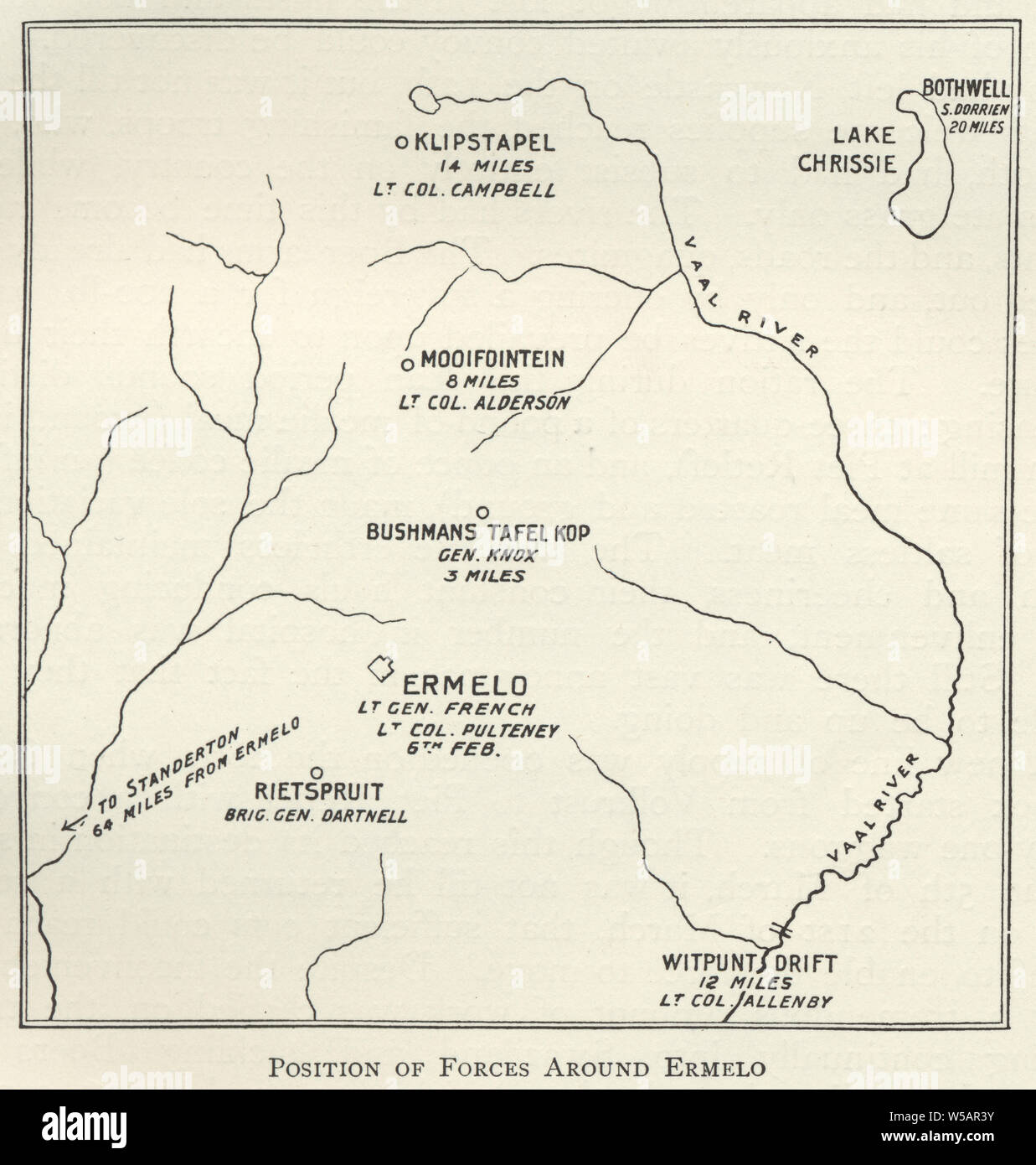 Map from the Second Boer War, position of forces around Ermelo, Mpumalanga 1901 Stock Photo