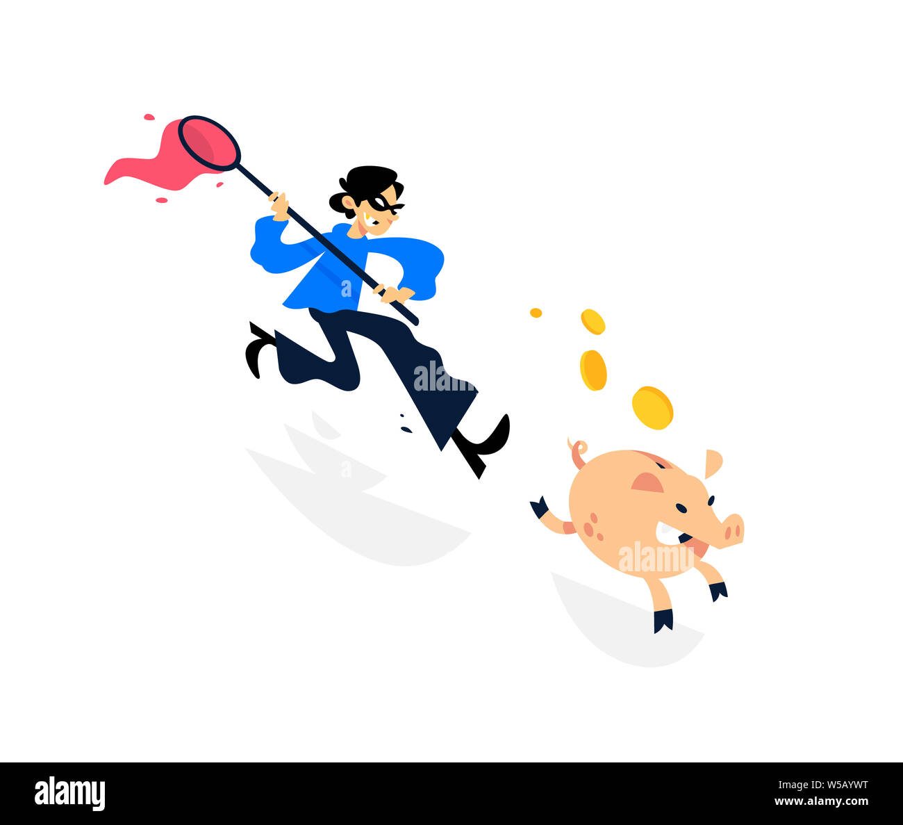 Illustration of a thief running after a piggy bank with a net. Vector illustration. Image is isolated on white background. A cartoon thief is trying t Stock Photo