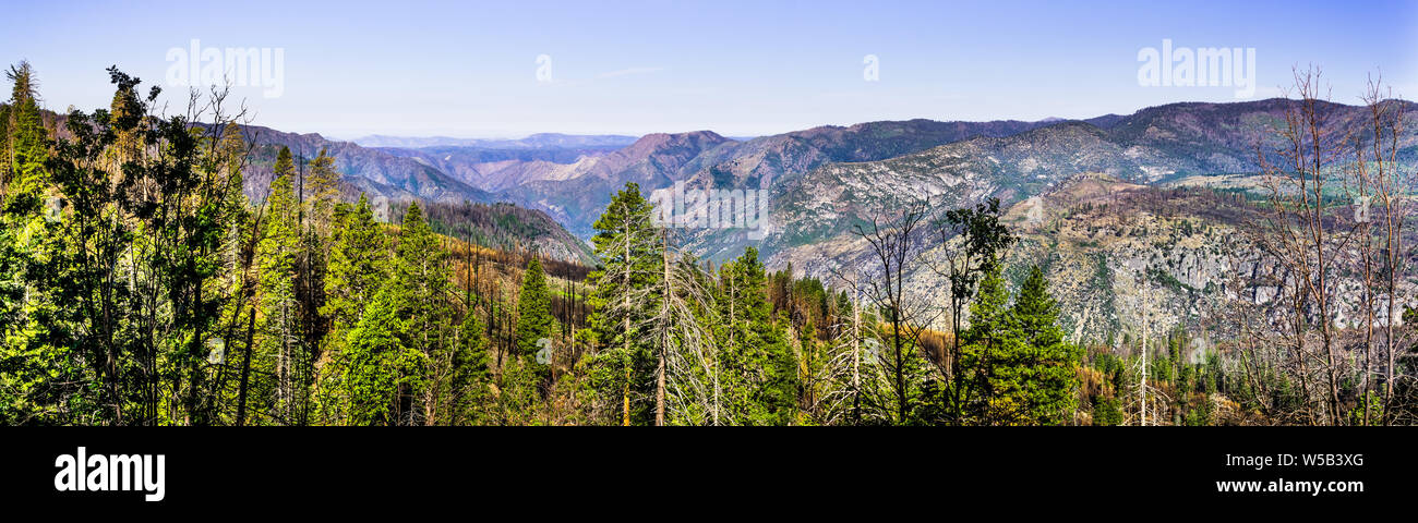 Panoramic view of areas of Yosemite National Park and Mariposa County, California, damaged by Ferguson Fire in the summer of 2018 Stock Photo