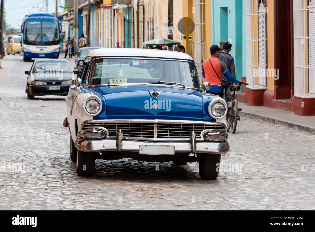 blue taxi in old havana Stock Photo