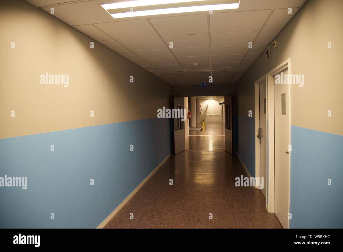 Hospital — unusually empty corridor of a French emergency department Stock Photo
