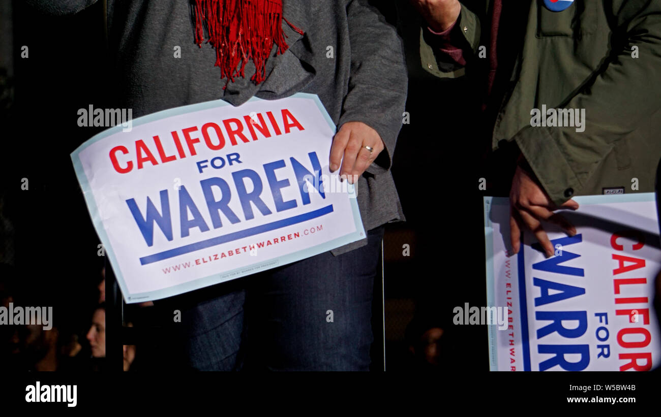 """Elizabeth Warren for United States President rally, Oakland, California on May 31, 2019.  Close up of """"California for Warren"""" signs. Stock Photo"""