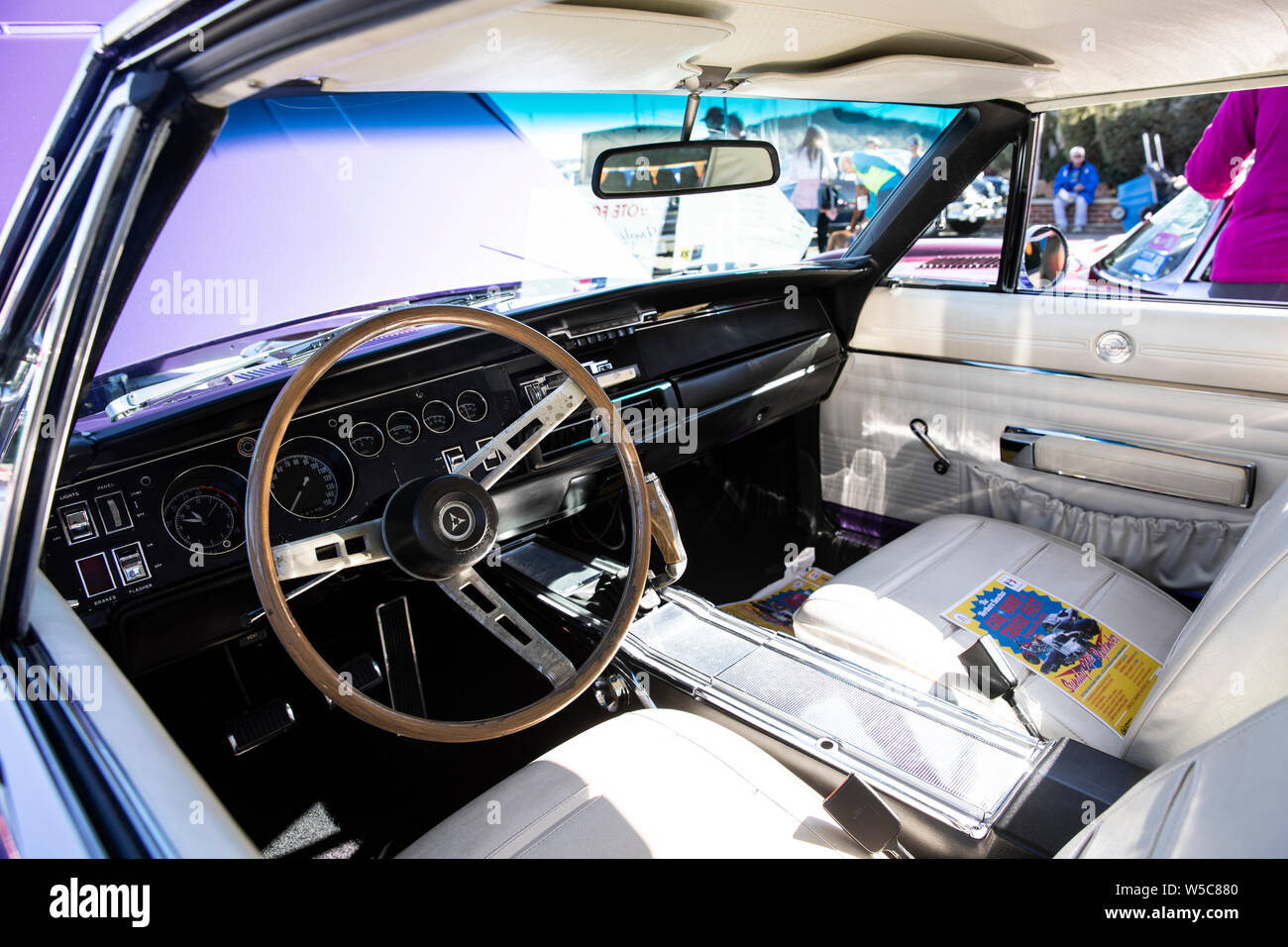 Car Interior 1968 Dodge Charger Rt 440 Classic American Muscle Car On Display At A Classic Car Show In Newport Sydney Australia Stock Photo Alamy