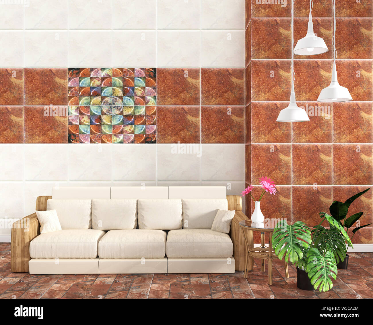 Living Room Interior With Tile Classic Texture Wall Background On Tile Brown Floor Minimal Designs 3d Rendering Stock Photo Alamy