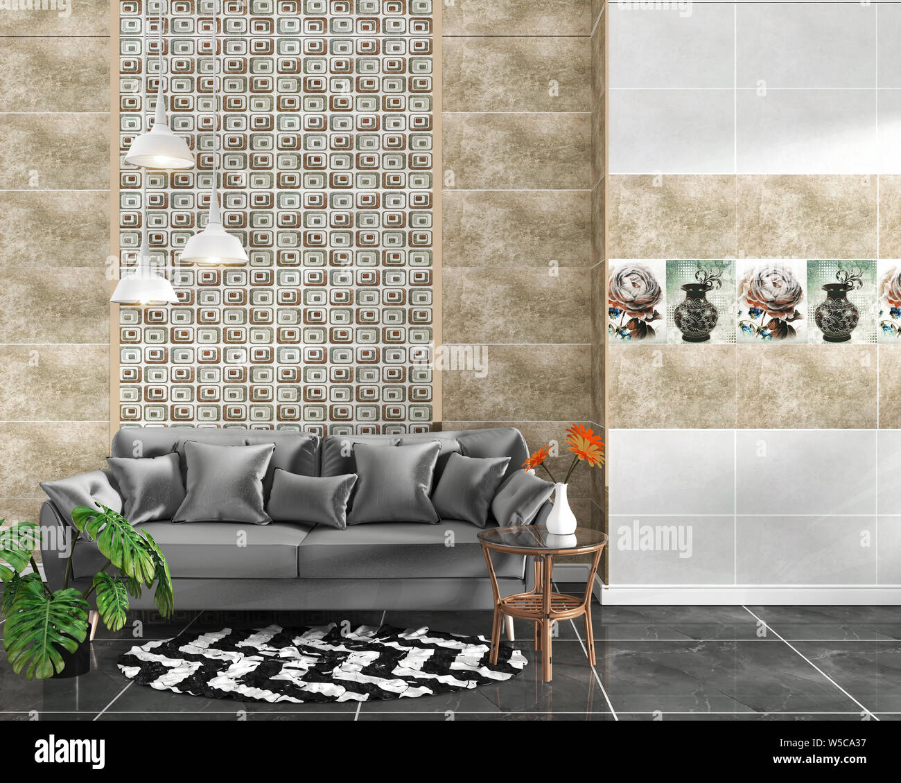 Living Room Interior With Tile Classic Texture Wall Background On Black Granite Tile Floor Minimal Designs 3d Rendering Stock Photo Alamy
