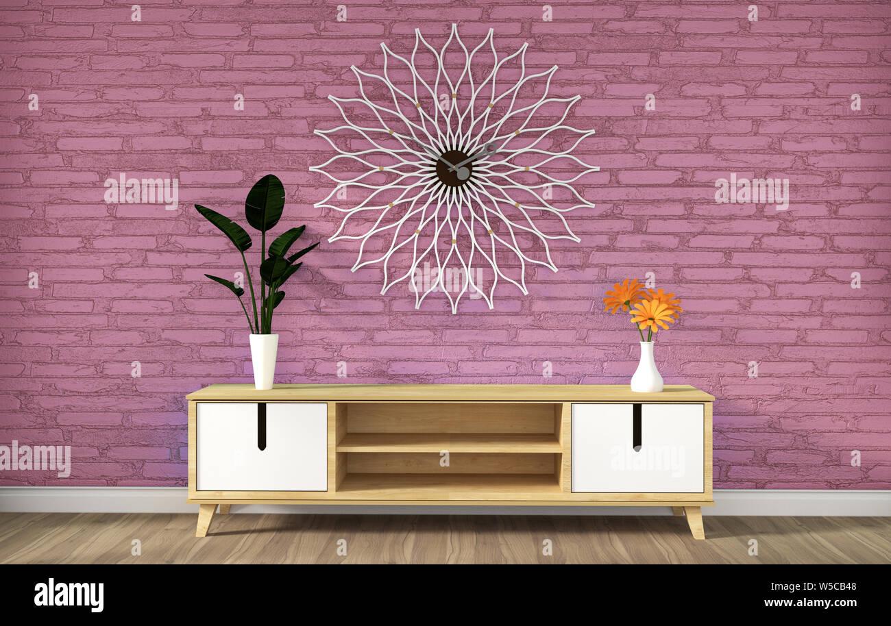 tv cabinet in pink modern loft empty roomminimal designs 3d rendering W5CB48
