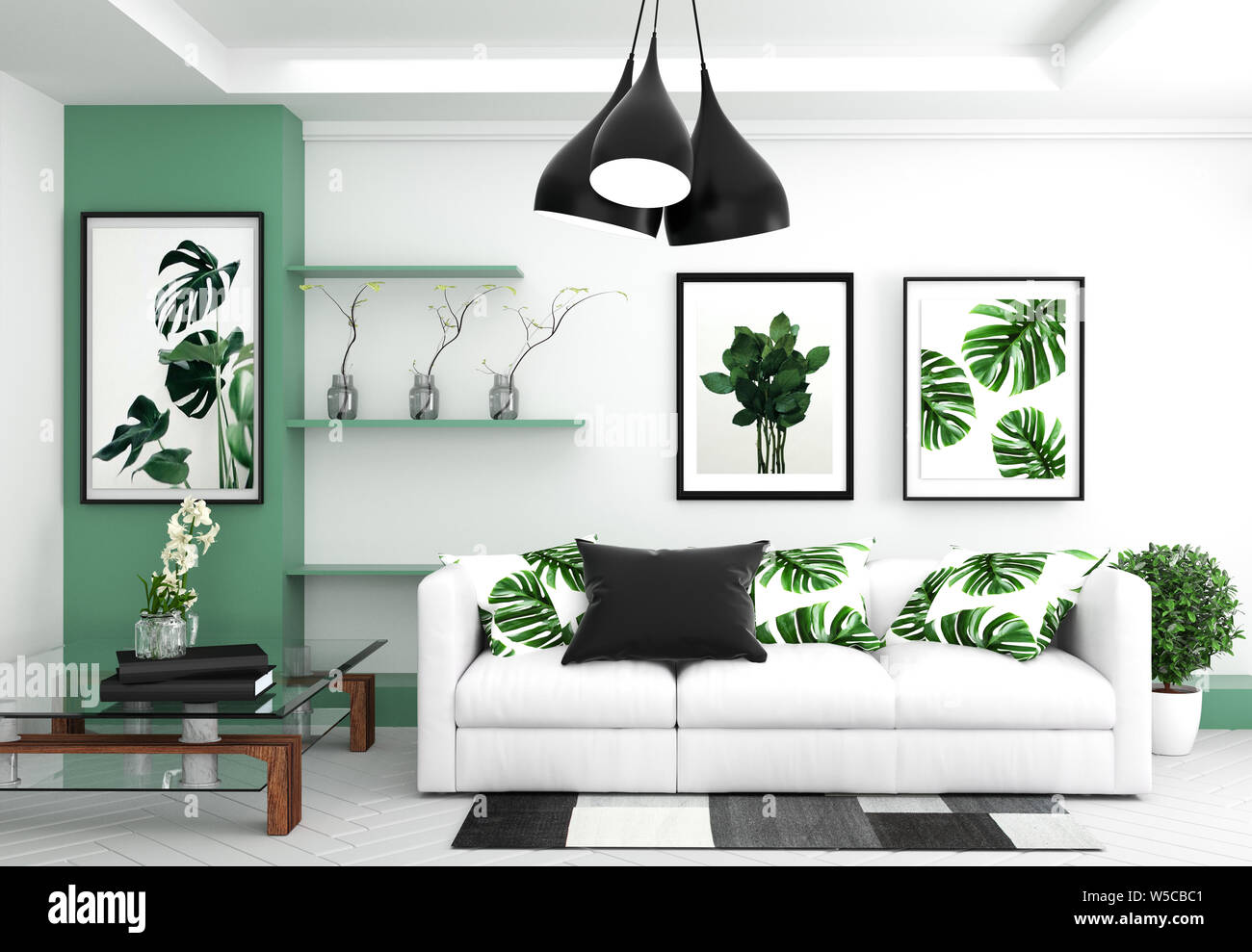 Living room interior - room modern tropical style with ...
