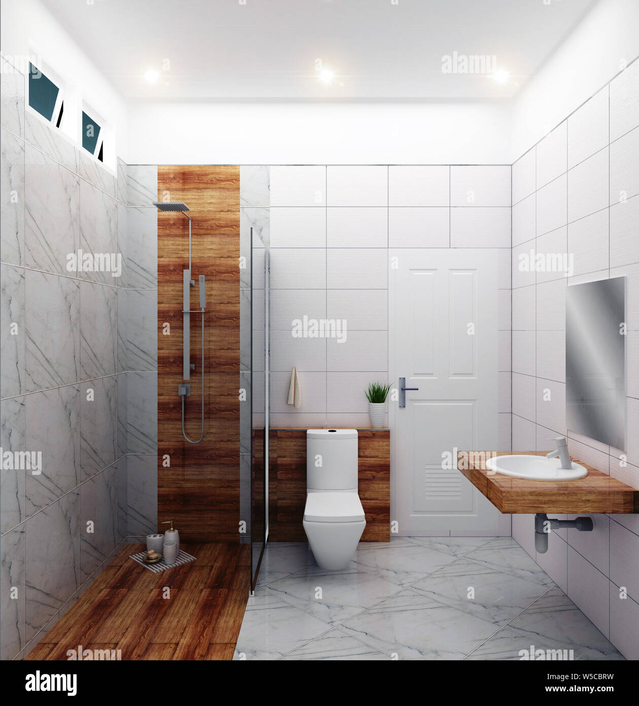 Bright bathroom Design tiles white modern style. 3D ...
