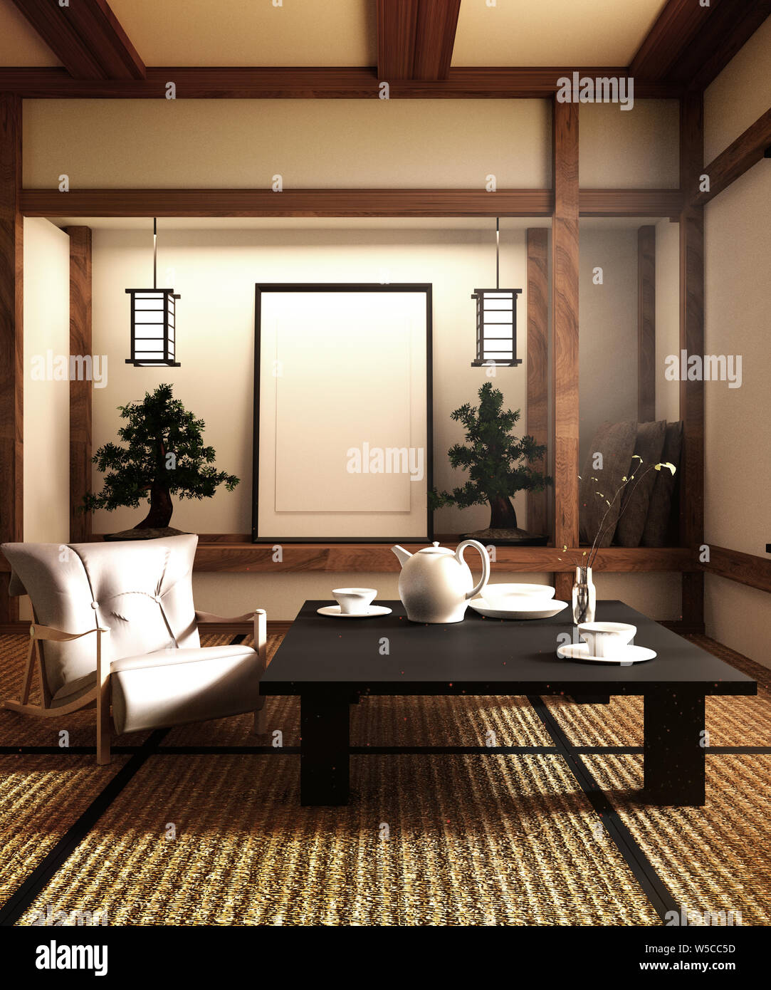 Japanese Style Living Room Stock Photos & Japanese Style ...