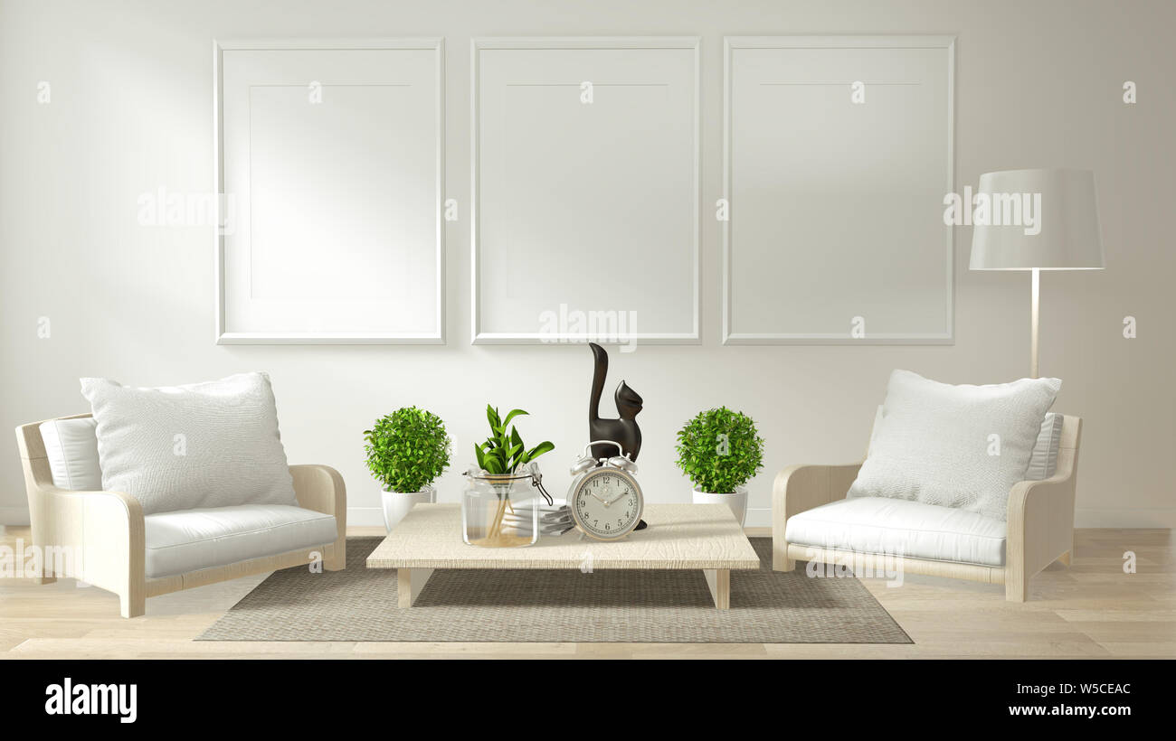 Modern Zen Living Room Interior With Sofa And Green Plants Japanese Minimal Design 3d Rendering Stock Photo Alamy