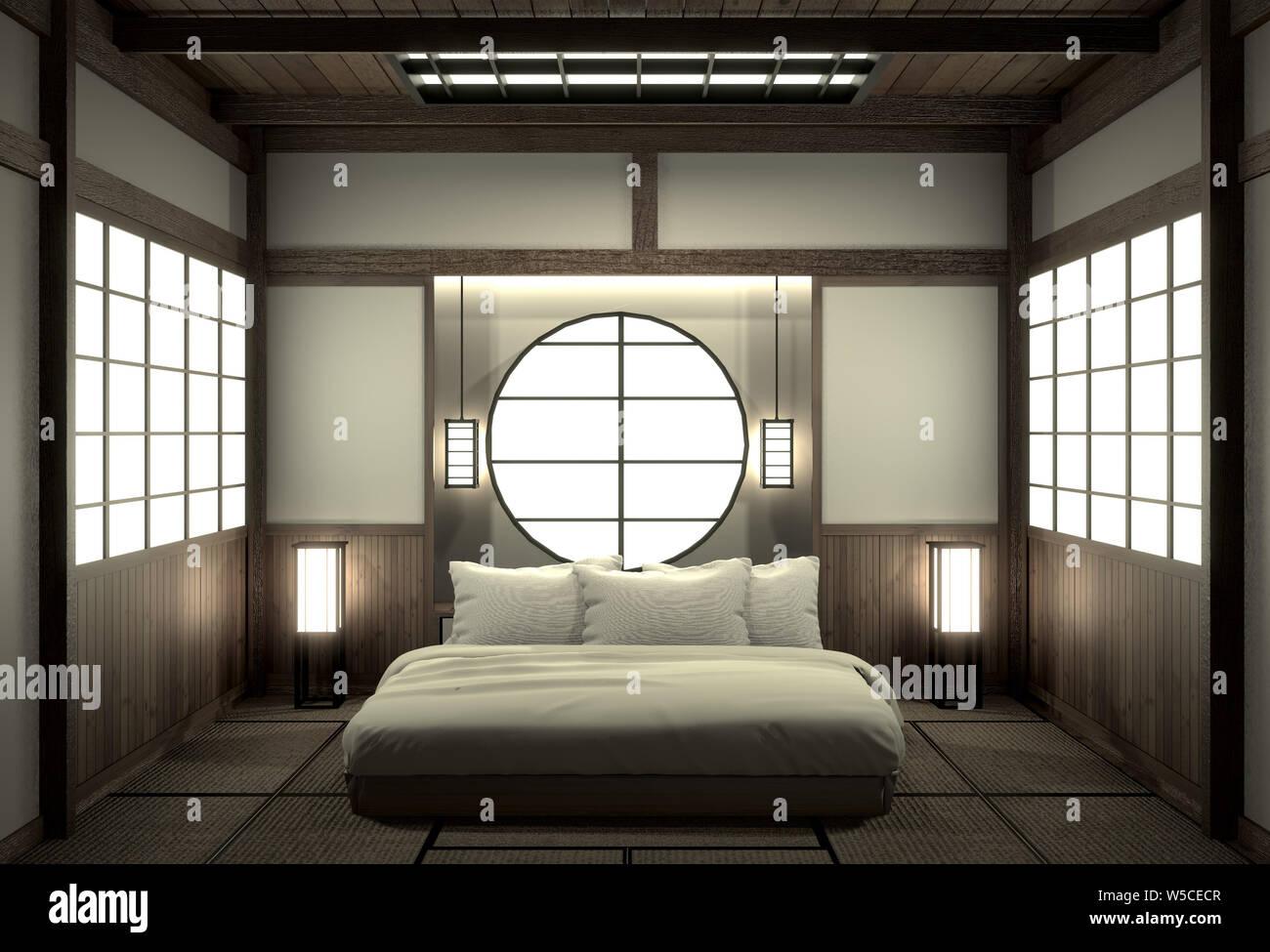 Bedroom Modern Zen Interior Design With Decoration Japanese Style 3d Rendering Stock Photo Alamy