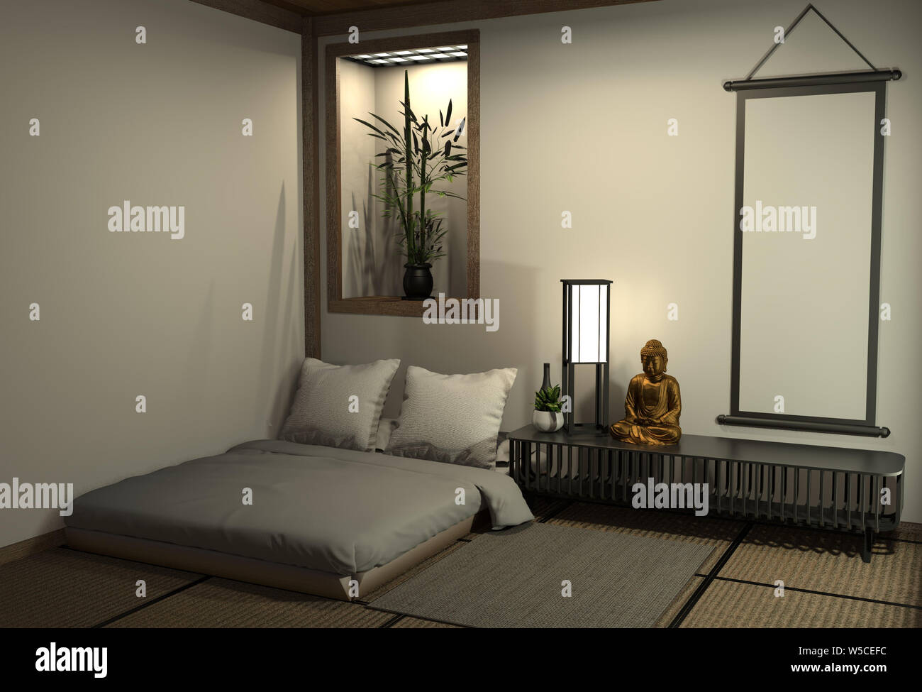 Modern Peaceful Bedroom Zen Style Bedroom And Decoration Japanese Style Bedroom Japanese Style 3d Rendering Stock Photo Alamy