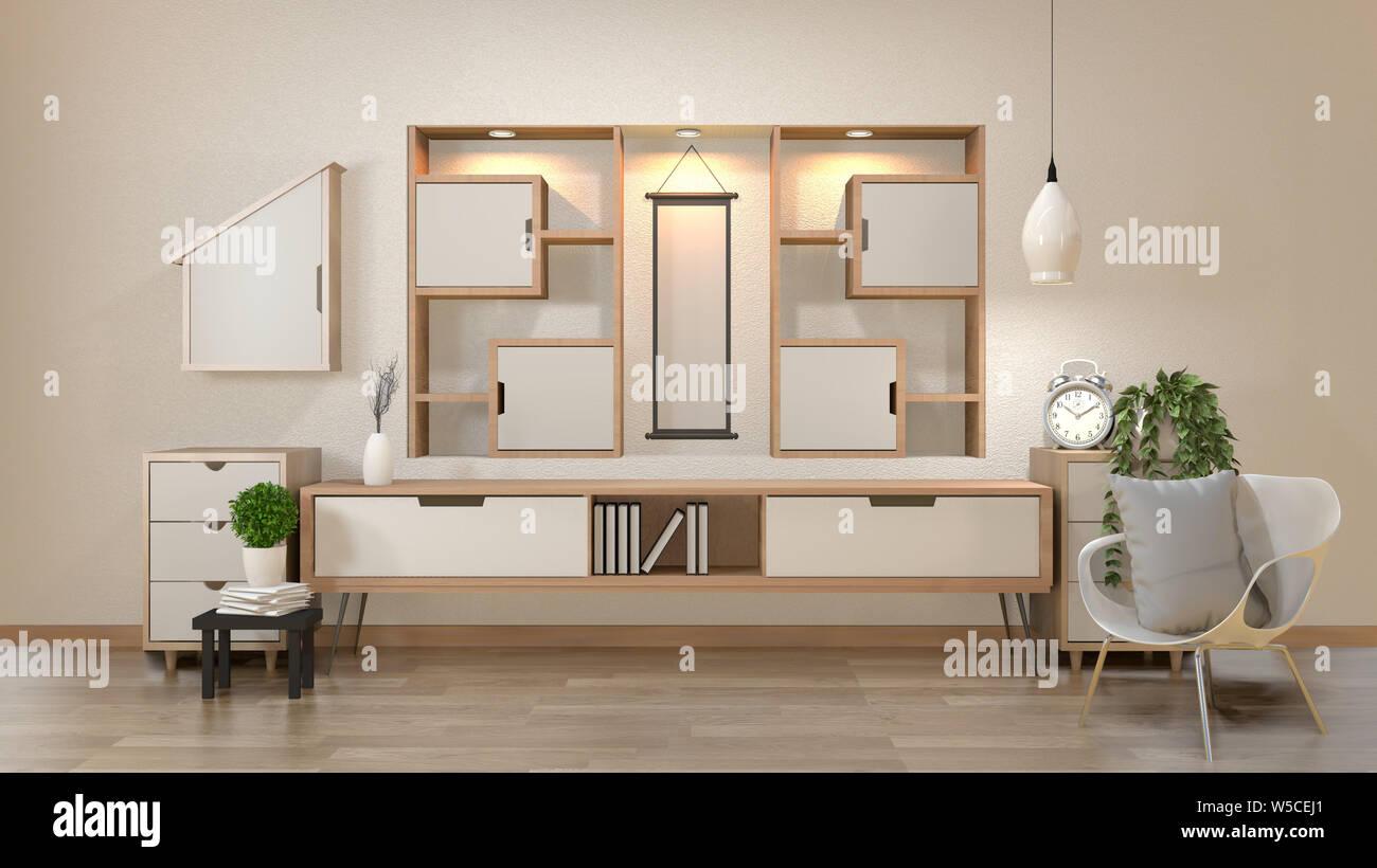 cabinet and decoration in modern zen empty roomminimal designs shelf wall 3d rendering W5CEJ1