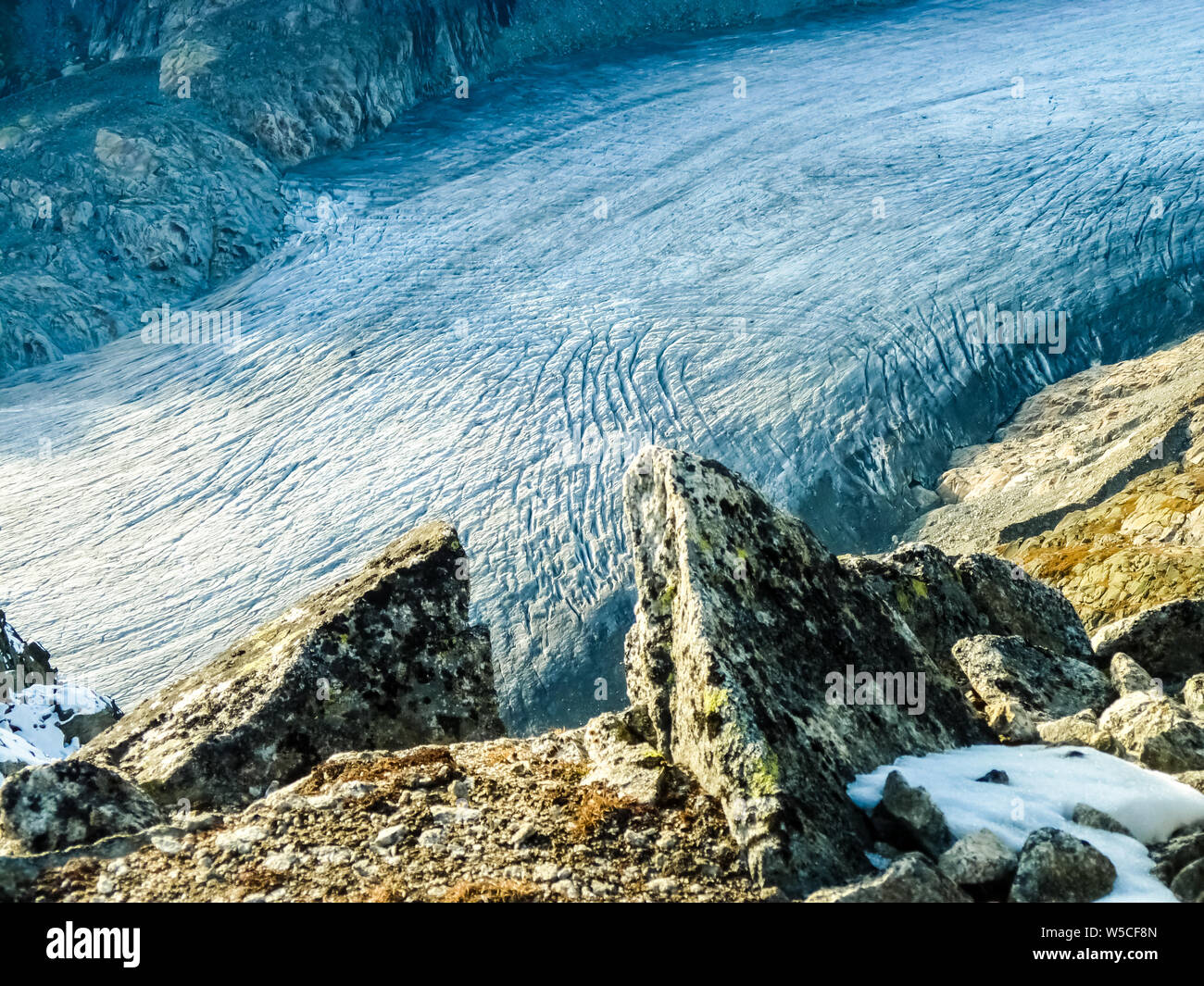 Rhone Glacier in the Swiss Alps, Switzerland Stock Photo