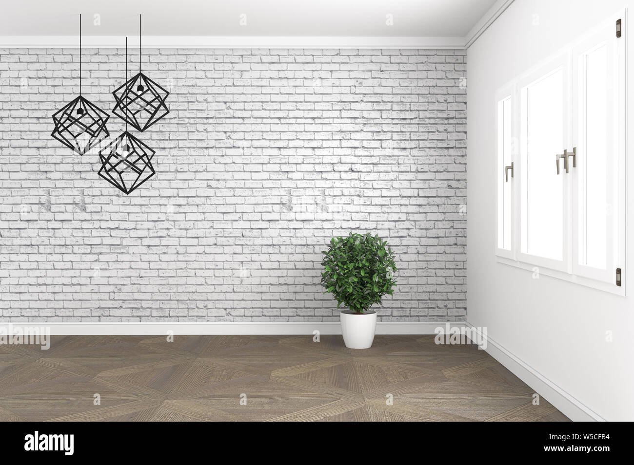Loft room design, with lamp and plants on white windows in brick wall on wooden floor. 3D rendering Stock Photo
