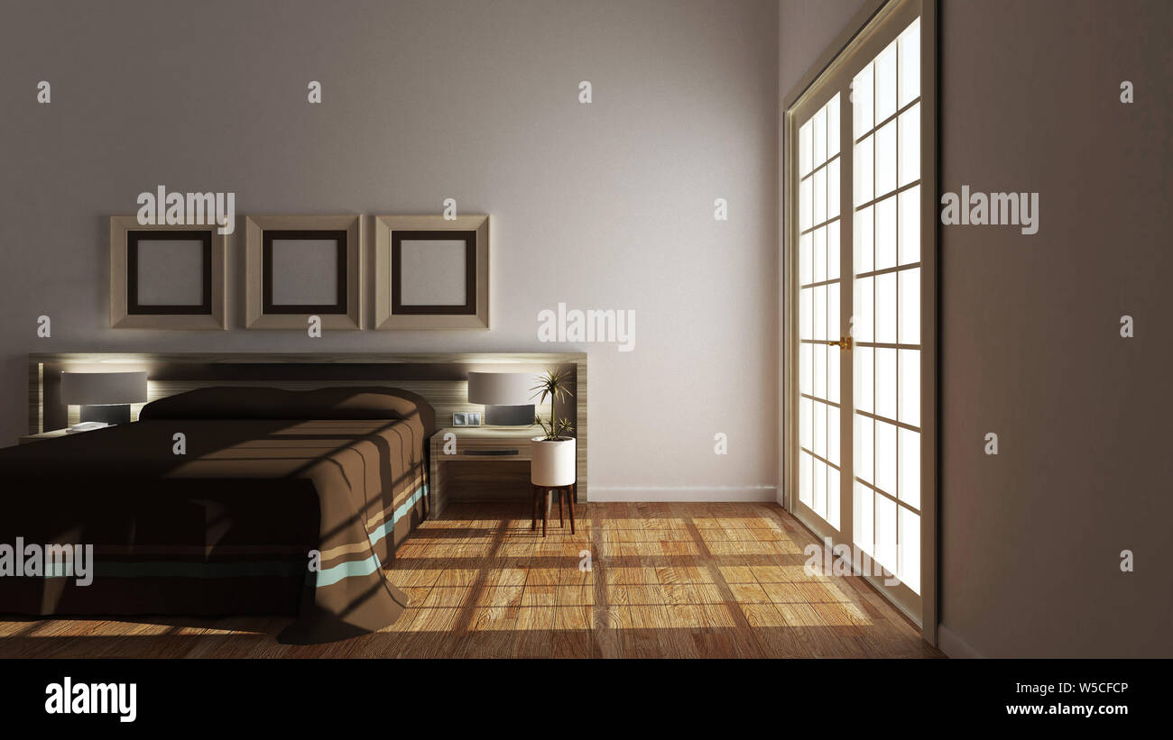 Empty Room Modern Bed Room Interior 3d Renderingv Stock Photo Alamy