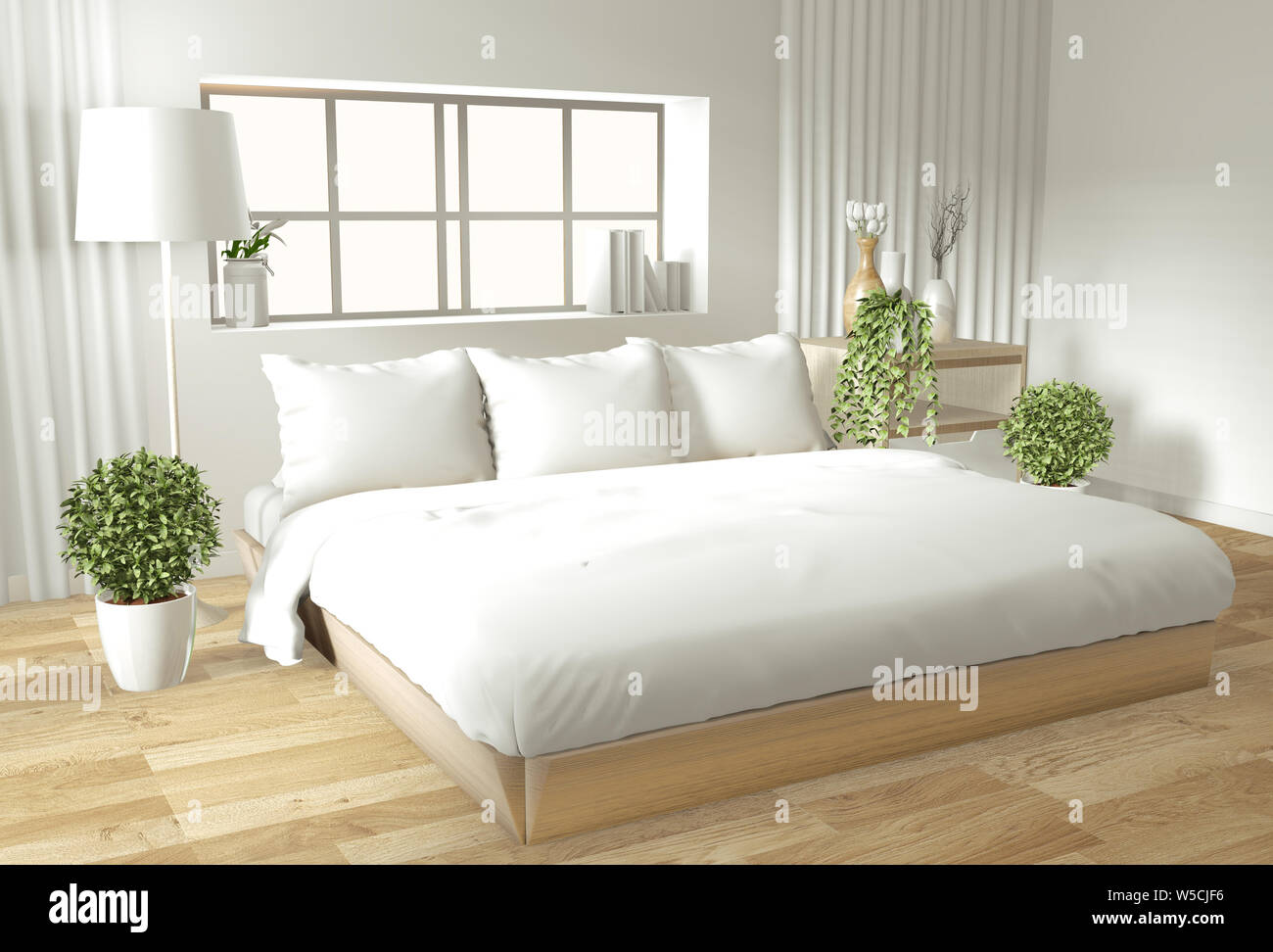 Home interior wall mock up with wooden bed, curtains and ...