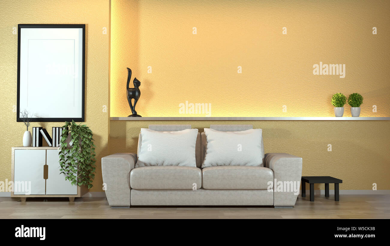 modern zen interior with sofa and green plants,lamp ...