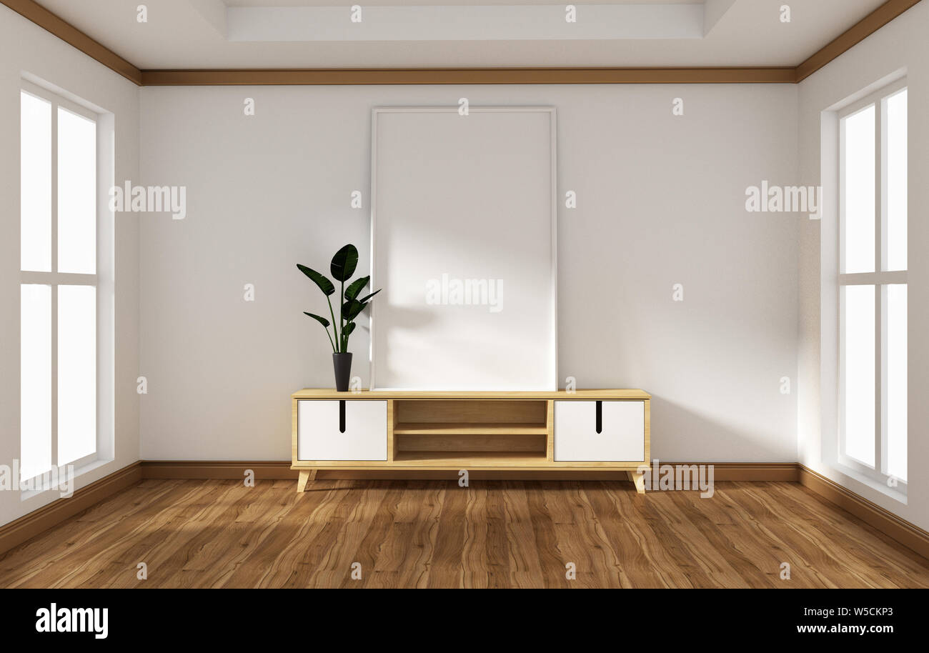 Tv Cabinet In Modern Empty Room Japanese Zen Style Minimal Designs 3d Rendering Stock Photo Alamy
