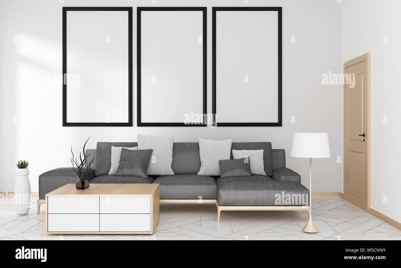 Gray Sofa In Living Room For Mock Up Japanese Modern Style