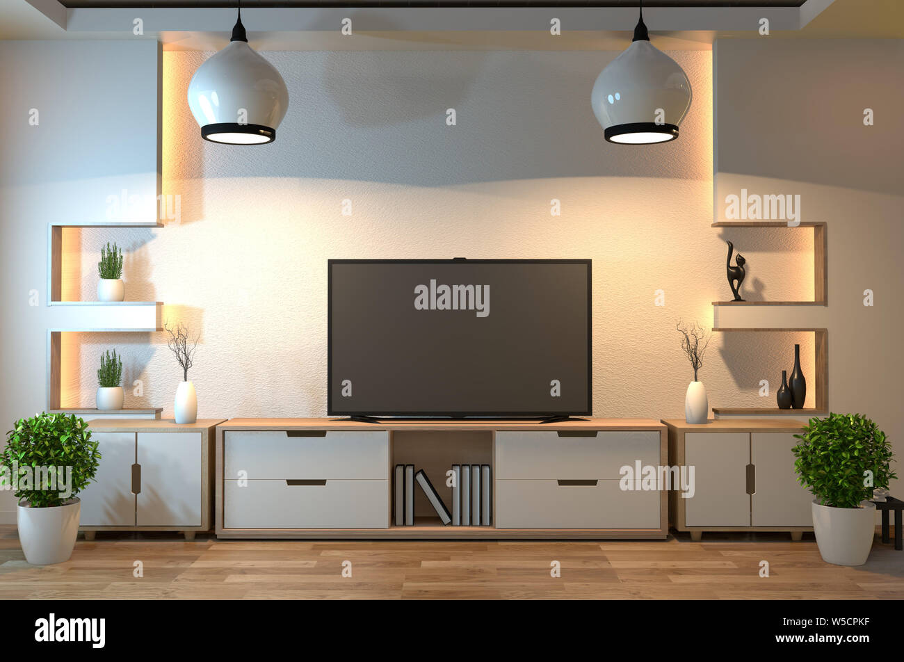 interior design,modern living room with smart tv,table,lamp ...