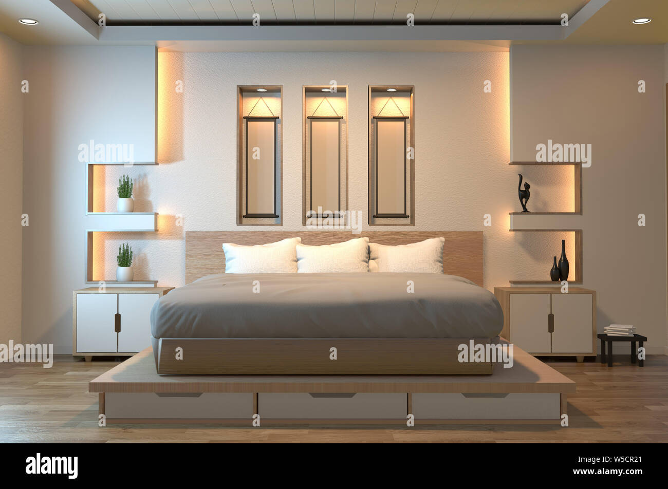 Modern Zen Peaceful Bedroom Japan Style Bedroom With Shelf Wall Design Hidden Light And Decoration Japanese Style 3d Rendering Stock Photo Alamy