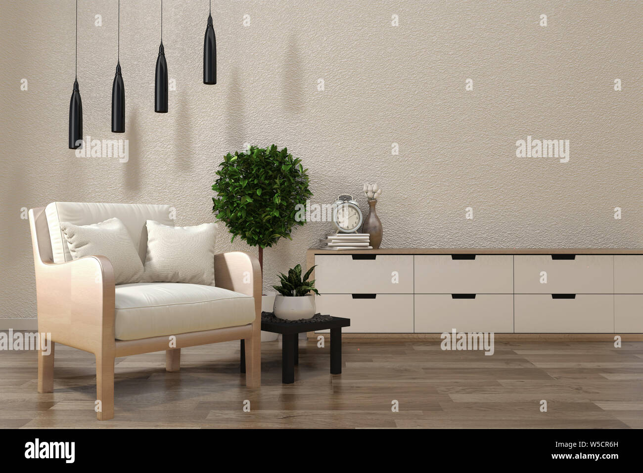 Minimalist Modern Zen Living Room With Wood Floor And Decor Japanese Style 3d Rendering Stock Photo Alamy