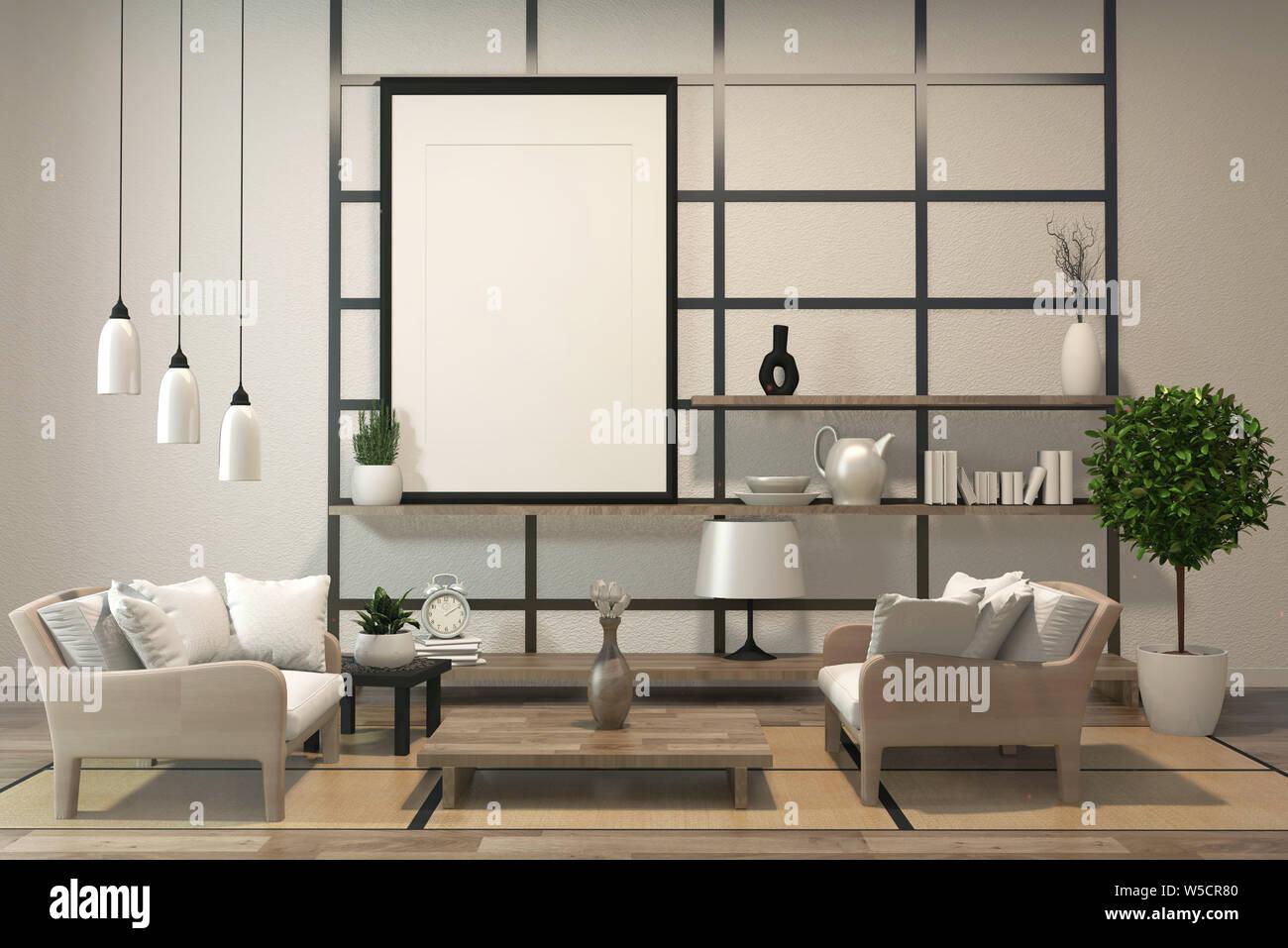 Minimalist modern zen living room with wood floor and decor