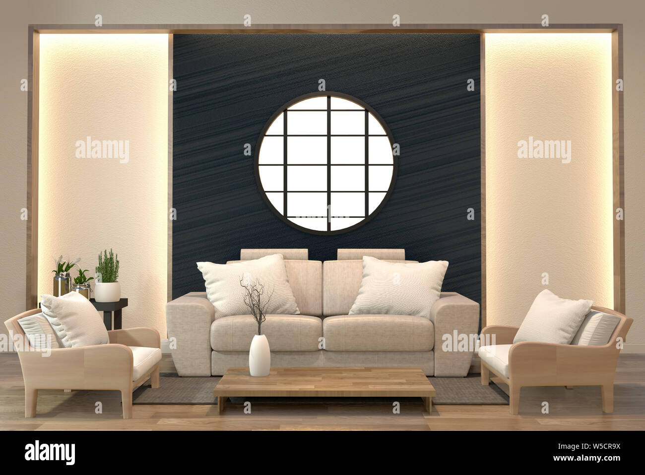 Minimal Interior Design Room Zen Style With Sofa Arm Chair Low Table And Decoration Japan Style Design Hidden Light In Shelf Wall 3d Rendering Stock Photo Alamy