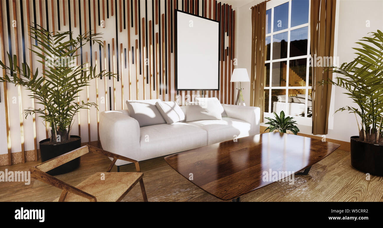 japanese living room with white wall in the background.3D ...