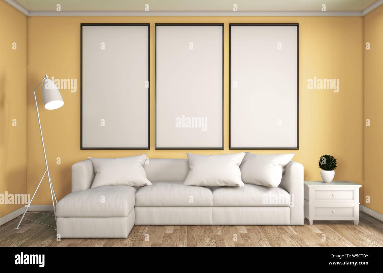 Mock Up Yellow Living Room Decoration Japanese Style Designed Minimal Zen Style 3d Rendering Stock Photo Alamy