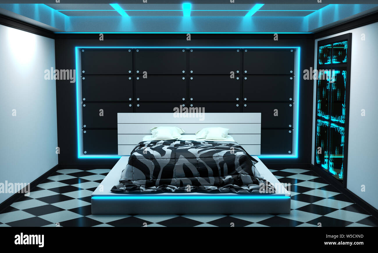 Sci Fi Concept Bed Room Interior Modern Style 3d Rendering Stock Photo Alamy