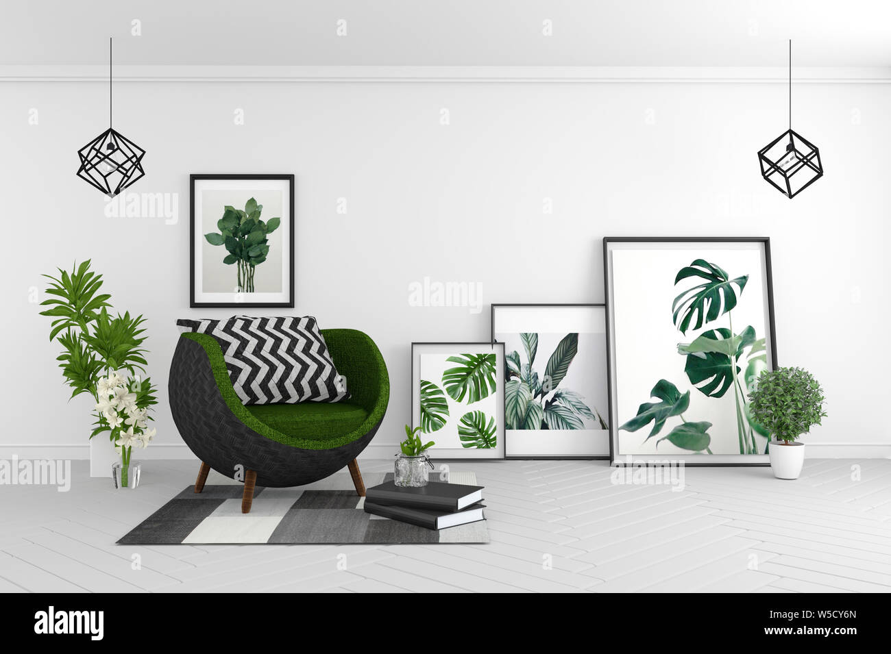Living Room Interior Room Modern Tropical Style With Composition Minimal Design 3d Rendering Stock Photo Alamy