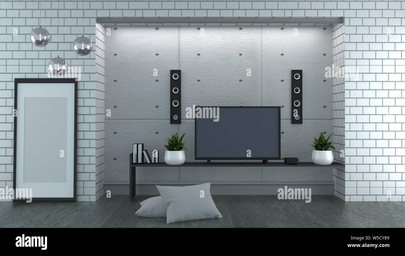 Tv On Loft Style White Brick Wall Background 3d Rendering Stock Photo Alamy