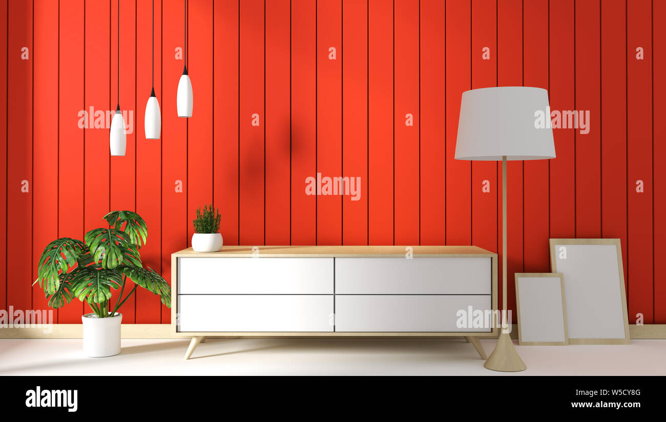 tv cabinet in orange modern roomminimal designs zen style 3d rendering W5CY8G