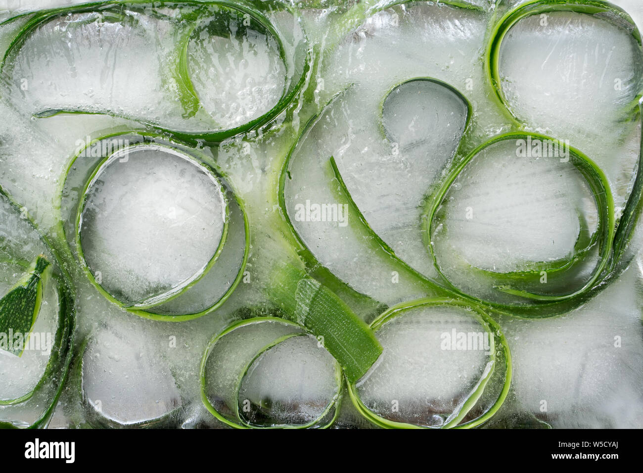 Background skin and piece of  fresh szucchini frozen in ice Stock Photo