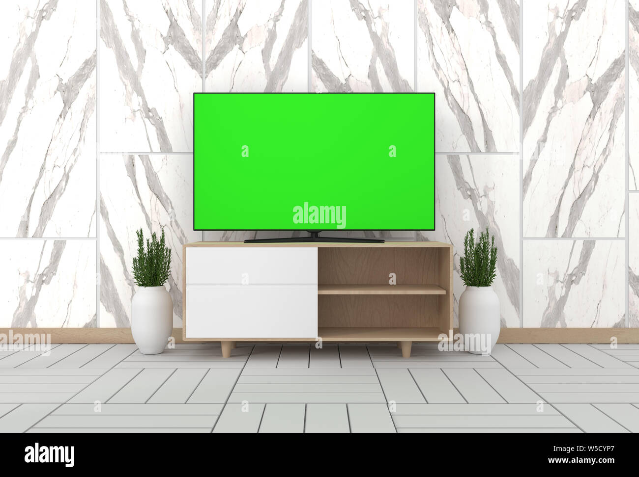 Smart Tv Mockup With Blank Green Screen Hanging On The Cabinet Decor Modern Living Room Zen Style 3d Rendering Stock Photo Alamy