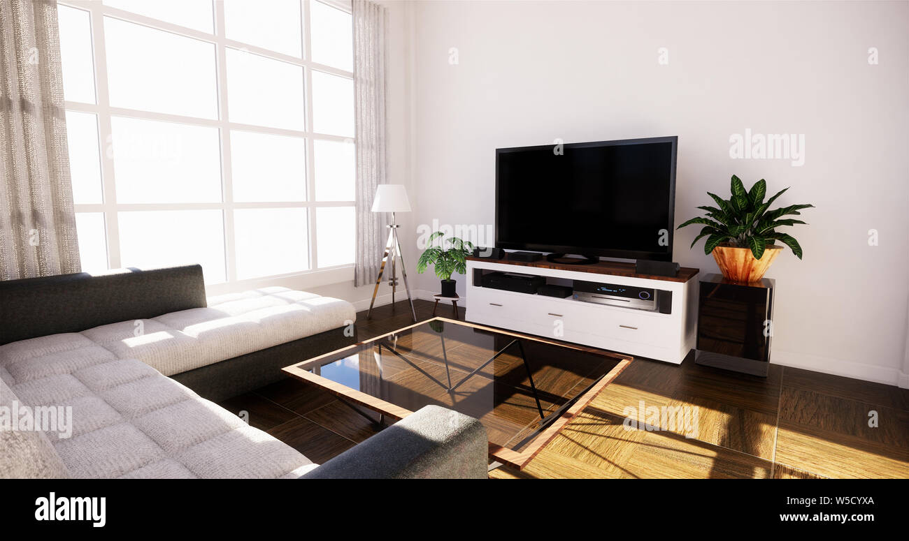 Smart Tv Mockup With Blank Black Screen Hanging On The Cabinet Decor Modern Living Room Zen Style 3d Rendering Stock Photo Alamy