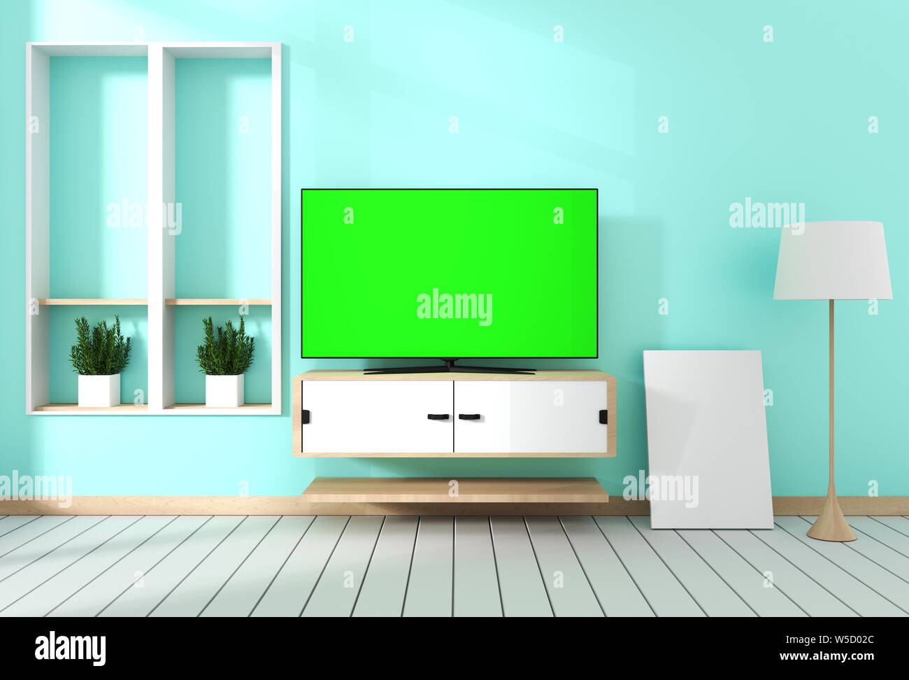Smart Tv With Blank Green Screen Hanging On Cabinet Design Modern Living Room With Mint Wall On White Wooden Floor 3d Rendering Stock Photo Alamy