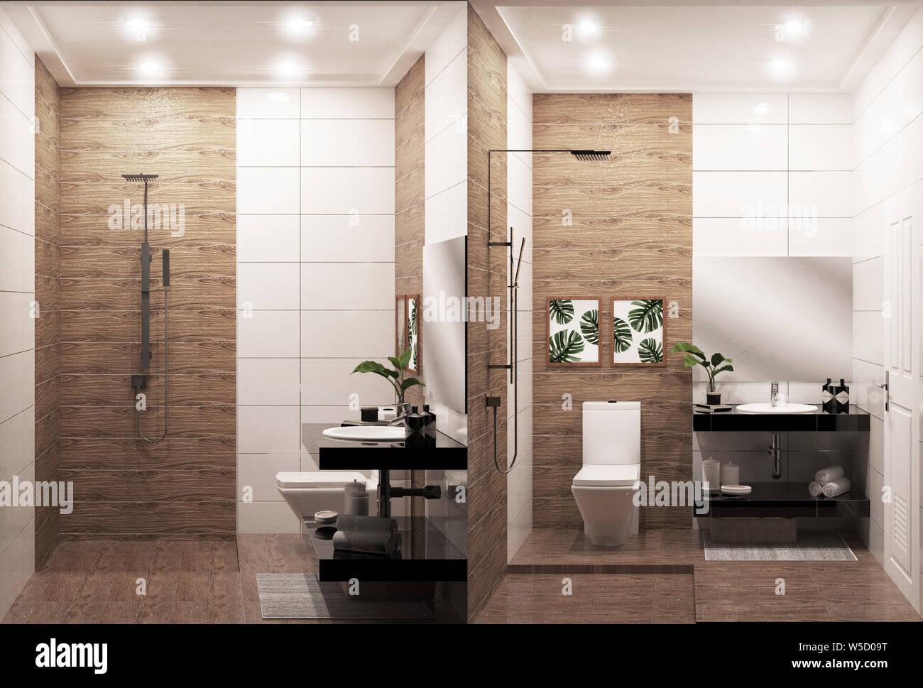 Zen Design Bathroom Wooden Wall And Floor Japanese Style 3d Rendering Stock Photo Alamy