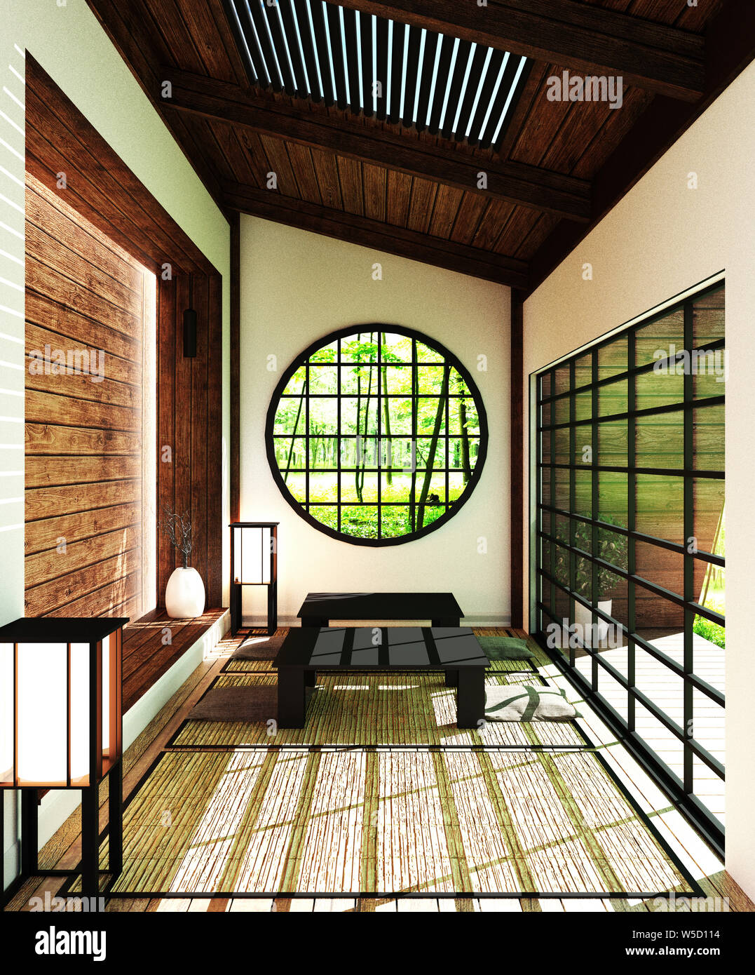 Japan room - modern living room with windows, door, table ...